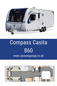 The Compass Casita 860 is a 4 berth caravan on a twin axle chassis. It has a Transverse bed at the rear giving you a completely separate bedroom. It has a mid-van bathroom with a make up double at the front. Caravan Reviews, Caravans, Motorhome, Compass, Recreational Vehicles, Separate, Twin, Bathroom, Bed