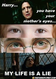 Harry potter. This was the most annoying thing about the movies. Lily's eyes are supposed to be green, as are Harry's. Then in the movie, instead of making Lily's eyes blue to match Dan's, they pick a brown eyed girl. How dumb!
