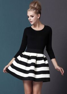 She Inside | Black White Striped Three Quarter Length Sleeve Stripe Dress.