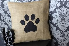 Burlap paw print pillow cover / hessian cushion by BlueRaven21, $22.00