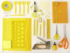 It's amazing how colour-blocking can turn ordinary objects into fantastic photos. Love this styling and photography by Gothenburg-based design studio Kontor Yellow Office, Yellow Desk, Yellow Art, Colour Yellow, Things Organized Neatly, Organized Office, Swedish Design, Scandinavian Design, Shades Of Yellow
