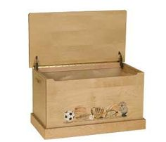 Amish Small Maple Toy Box with Sports Scene
