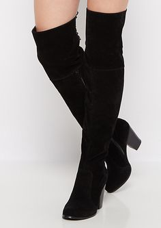 Black Lace Up Over the Knee Boot by Chase & Chloe | rue21