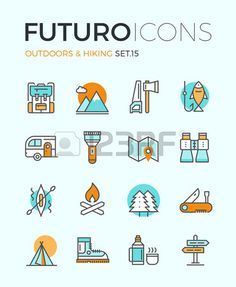 Line icons with flat design elements of camping equipment, hiking activity…