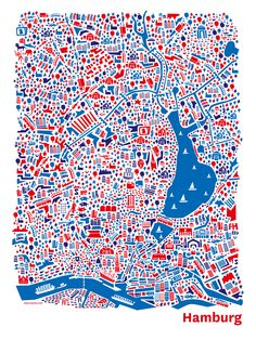 Hamburg city map - illustrated