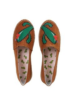 MELLOW YELLOW Suede espadrilles with cactus pattern Beige 2
