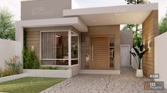 Bungalow House Design, House Front Design, Small House Design, Modern House Design, Small House Layout, House Layouts, Home Building Design, Home Room Design, Interior Modern