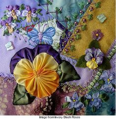 Lisa of Ivory Blush Roses ~ luscious pansy crazy quilt block that was part of a round robin.