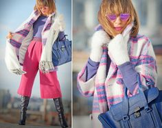 Vivid Splash in Winter!  (by Galant-Girl Ellena)         FOR MORE:   http://galantgirl.com/culottes-winter-outfit/    #GalantGirl #plaidCoat #Massada #MassadaEyewear #31PhillipLim #31PhillipLimPashli