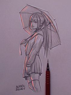 Umrebellagurl - day by angelganev sketches, anime, art, croquis, kunst Girl Drawing Sketches, Cool Art Drawings, Pencil Art Drawings, Beautiful Drawings, Disney Drawings, Outline Drawings, Drawing Artist, Deviantart Zeichnungen, Art Du Croquis