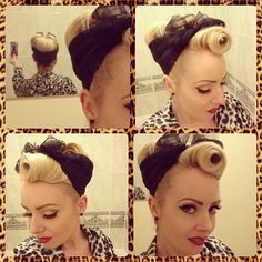 1940's victory rolls with scarf