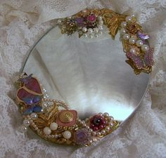vintage jewlery and seashell decorated mirrors | Embellished Mirror, Dressing Table Mirror Decorated w Vintage Jewelry ...