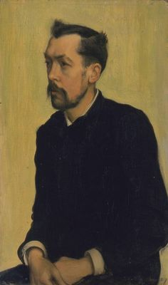 Portrait of Francis Poictevin, 1887 by Jacques-Émile Blanche (1861-1942). Poictevin (1854-1904) was a French writer of the Symbolist period. Degas owned this painting for many years; it hung in his bedroom. His friendship with Blanche finished in 1903 when Blanche allowed the periodical 'The Studio' to reproduce his portrait of Degas, against Degas' wishes. This portrait was probably returned to Blanche at this time.