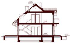 Przekrój DN KENDRA XS CE Malm, Drafting Desk, Loft, How To Plan, House, Furniture, Design, Home Decor, Houses