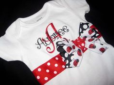 Monogrammed Ribbon Onesie  Ladybug Red and Black by donnajohagar, $23.00