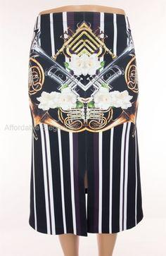 CLOVER CANYON Neoprene Instrumental Stripe Skirt M Medium Trumpet Sold Out $235 #CloverCanyon #ALine