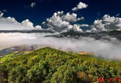 Astounding photo captures the summer of Longjiang ('Dragon River') Three Gorges in Luobei County, northeast #China's #Heilongjiang province. #season #clouds #clean #pure #nature #view #green #mountain #cloudsea