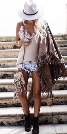 gypsy inspiration hat + top + denim shorts + boots + bag + poncho