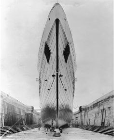 RMS Queen Mary in drydock at Southampton, England, prior to her maiden voyage in 1936