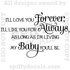 I'LL LOVE YOU FOREVER Nursery Baby Quote Vinyl Wall Decal Decor Letters Sticker