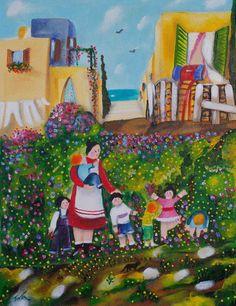 Tova Zvik - kindergarden Naive Art, Artist Gallery, Artist Painting, New Friends, Galleries, Israel, Folk Art, Paintings, Artists