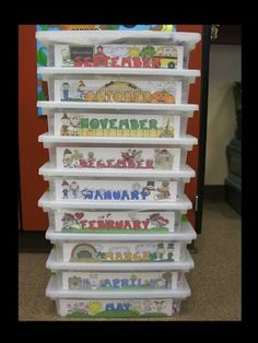 LOVE this! Activity storage bins for each month of the year. Genius!