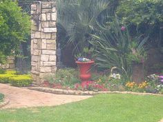 Garden by Designer SP Botha owner of Designer Gardens Landscaping www.designergardenlandscaping.co.za Garden Landscaping, Garden Design, Arch, Sidewalk, Outdoor Structures, Landscape, Front Yard Landscaping, Longbow, Scenery