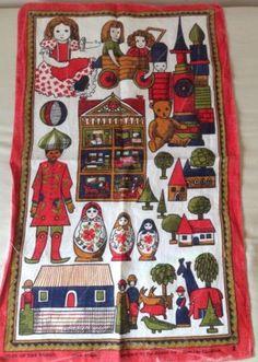 Pat Albeck Tea Towel Irish Linen. Toys Of The World