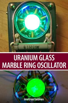 A UMRO is a Uranium glass marble ring oscillator that also has a steampunked metal case. Led Projects, Arduino Projects, Cool Diy Projects, Electronic Circuit Projects, Electronic Parts, Diy Electronics, Electronics Projects, Tesla Turbine, Technology Gadgets