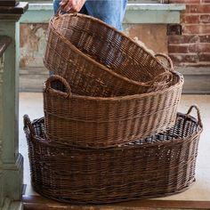 Oblong Wicker Laundry Baskets, Set of 3