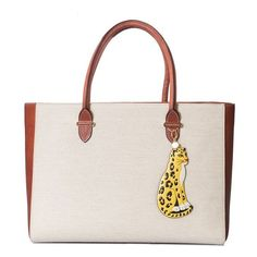 Charlotte Olympia Brando Tote ($643) ❤ liked on Polyvore featuring bags, handbags, tote bags, brown, zipper tote, leather purses, brown leather handbags, white leather tote bag and white leather purse