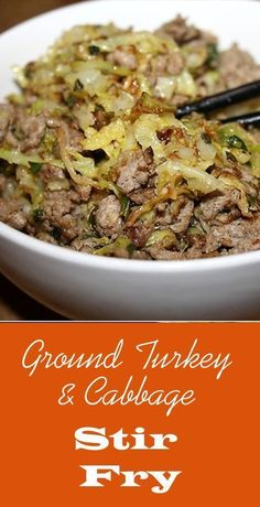 Ground Turkey & Cabbage Stir-Fry - simple ingredients in this recipe such as sesame oil, garlic and ginger but oh so much flavor! For more info, please visit http://www.recipezazz.com/