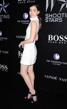 Hailee Steifeld sexy legs in a white little number