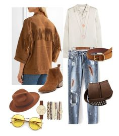 """""""Chic Boho"""" by bokye-354 ❤ liked on Polyvore featuring Jessica Carlyle, Chloé, MANGO, Current/Elliott, Larose, Michael Kors, Steve Madden and Wildfox"""