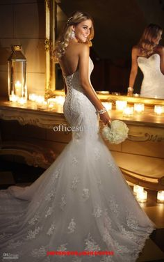 Wholesale Mermaid Lace Sweetheart Wedding Dresses bridal gown with Corset Back 5708, Free shipping, $153.41/Piece | DHgate
