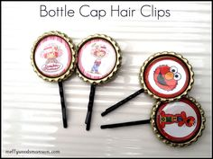 Bottle Cap Hair Clips - so cute and easy and you could do anything the kids love or match them with outfits