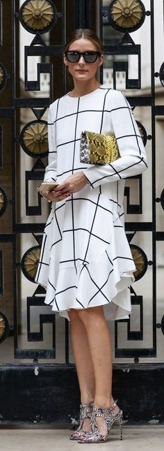 Street Style October, 2014: Olivia Palermo is wearing a grid print dress from Chloe, gold patterned bag from Nina Ricci, shoes from Brain Atwood and sunglasses from Westward Leaning