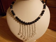 Frosted black agate and clear quartz drop necklace £11.00