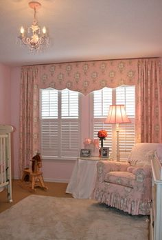 Girl's baby room - traditional - spaces - tampa - Finishing Touches-Nursery-shutters-pink toile-gathered drapery panels mounted over soft cornice valence-crystal bead trim--window treatments--Castle Pines-Castle Rock-Highlands Ranch-Lonetree-Parker