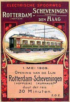 Reclame van de opening van het eerste ge-electrificeerde spoorlijn »» Rotterdam Hofplein - Scheveningen Kurhaus v.v. Bekend als de Hofpleinlijntje en/of Ambtenarenlijn.