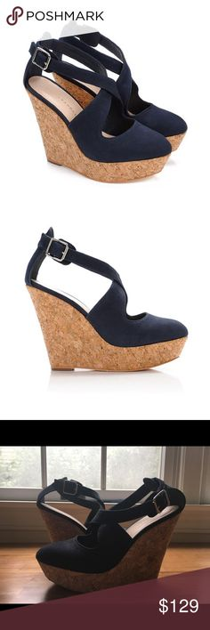 Loeffler Randall Lucile suede wedge heels Gorgeous navy suede wedges from Loeffler Randall! The soles are made from a beautiful soft cork and the fit is super comfortable and flattering. This same shoe in sea green recently sold out at Jcrew, though the navy is much more versatile. From the 2012 collection. Original price $375. Lightly worn in excellent condition. Loeffler Randall Shoes Platforms
