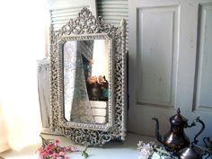 Antique White And Patina Vintage Ornate Mirror Off Large Hollywood Regency
