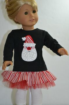 Christmas Santa Face Applique Ensemble Skirt and Top For American Girl I8 Inch Doll