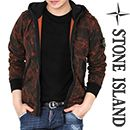 STONE ISLANDCamouflage Zip-Up Hooded Jacket(Red   Black)14FW - 611560438Break out into your timid shell and liven up your wardrobe with this snazzy red and black camouflage jacket. Designed with snug hood, long sleeves with elastic cuffs, detachable logo arm patch, zip-up front and zipper pockets. Team with vintage denim jeans and sneakers for the ultimate street style.