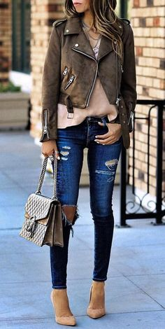 #fall #outfits ·  Zara Jacket And Camisole // Shoulder Bag // Pumps // Destroyed Jeans