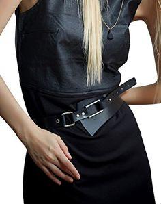 Fioretto Womens Cowhide Leather Waist Belt Black Wide Wai…