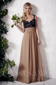 Christina Wu Occasions 22649 Long Bridesmaid Dress-  Perfect for both formal and informal weddings, this tank bridesmaid gown is sure to turn heads with sophistication and grace. Fitted from the tank sweetheart neckline to the natural waist, this gown hugs your curves as all over contrasted lace accents the bodice. The natural waist is accentuated by a wide ruched chiffon band as the flowing chiffon billows gracefully from the natural waist to the floor length hemline.