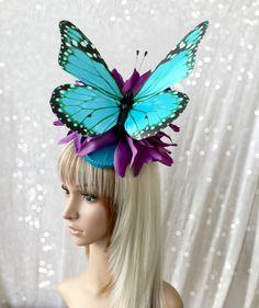 Kentucky Derby Fascinator Blue Butterfly Hat Wedding by ChikiBird