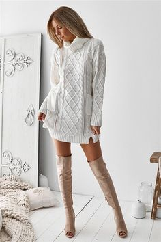 Turtleneck Sweater Hollow Out Sweater - Valerian Boutique Sweater Dress Outfit, Knit Dress, Sweater Dresses, Knit Fashion, Boho Fashion, Tricot D'art, Turtleneck Style, Loose Sweater, Oversized Sweater Dress