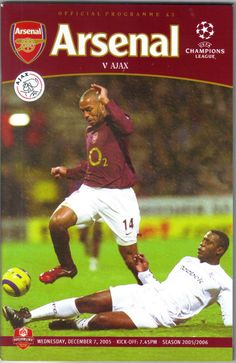 Arsenal v Ajax Football Programme UEFA Champions League 07/12/2005 Listing in the European Club Fixtures,Football (Soccer),Sports Programmes,Sport Memorabilia & Cards Category on eBid United Kingdom